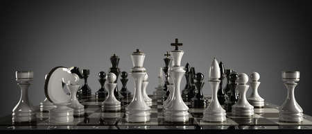 chess player: Chess concept image - checkmate. High resolution 3D render