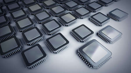 main board: Many electronic Processor unit CPU. Electronic background. 3D Stock Photo