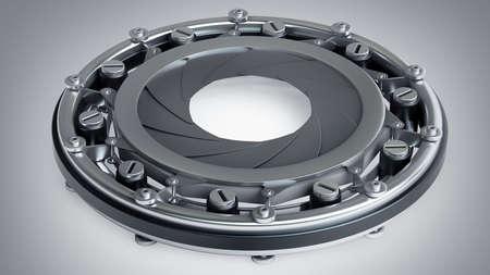 turn dial: diaphragm camera mechanism. High resolution 3d render