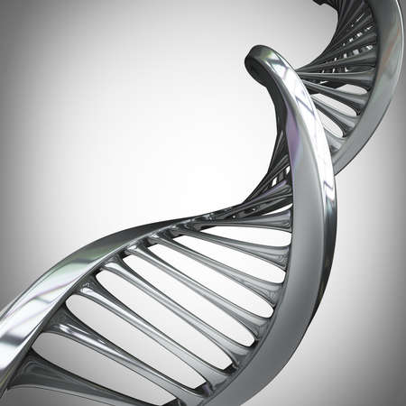 metal structure: model of twisted chrome metal DNA chain High resolution 3d render