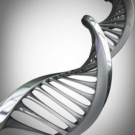 model van verwrongen chroom metalen DNA-keten Hoge resolutie 3d render