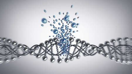 clone: brocken DNA chain model of twisted chrome metal High resolution 3d render