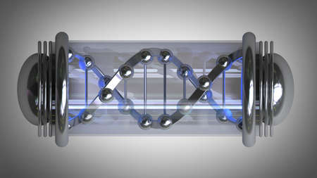 cloning: capsule with Sample DNA  High resolution 3d render  Stock Photo