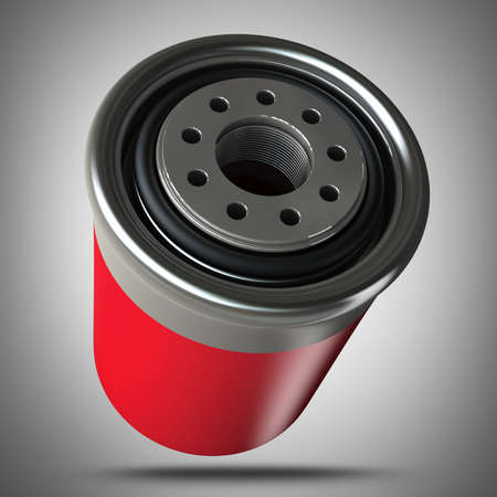 auto filter: Car engine oil filter  high resolution 3d illustration  Stock Photo
