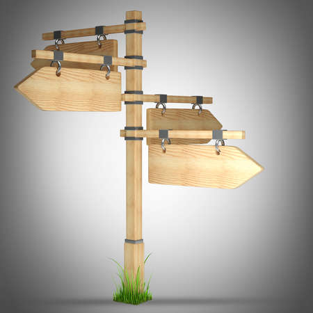 wooden arrow - index on a column. high resolution 3d illustration  illustration