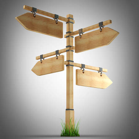 channelize: wooden arrow - index on a column. high resolution 3d illustration