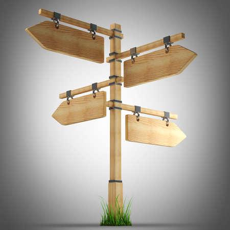 arrow wood: wooden arrow - index on a column. high resolution 3d illustration