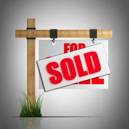 For sale (SOLD) sign  High resolution 3d render  photo