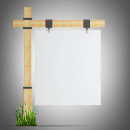 there: blank wooden advertising billboard. 3d render