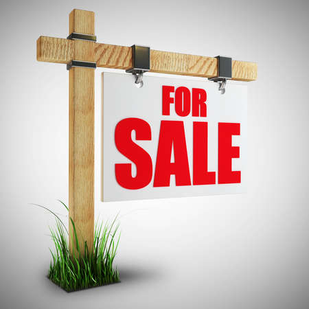 homes for sale: For sale sign  High resolution 3d render  Stock Photo