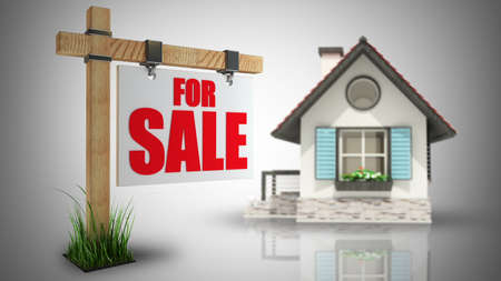 Home for Sale sign. High resolution 3d  photo