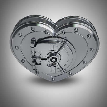 valuable: Silver heart safe High resolution 3D render  Stock Photo