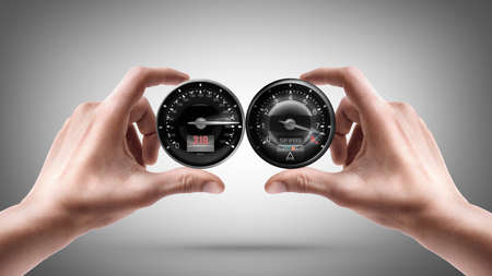 human body parts: hands holding External tachometer