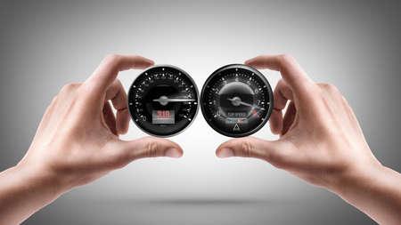 rev: hands holding External tachometer