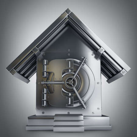 Bank Safe in form houses High resolution 3d render  photo