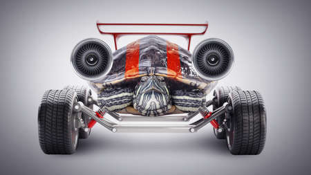Turtle with a jet engine. Concept.  photo