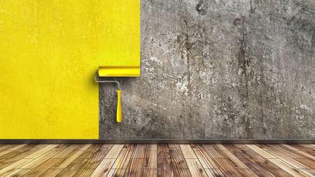 グランジ壁と黄色いペイント ローラーと空の部屋。高解像度 3 d レンダリング