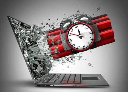 Bom met klok timer uitgang door een monitor van laptop scherm Hoge resolutie 3D Stockfoto