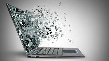 poškozené: notebook s rozbitým obrazovkou