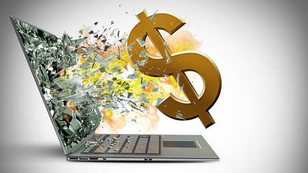 laptop with broken screen on fire symbol of currencies background  photo
