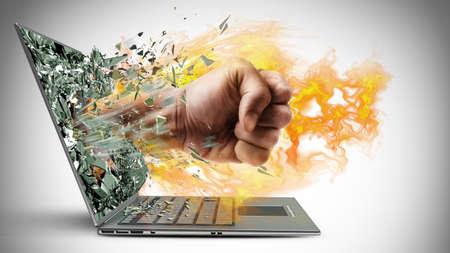 impacts: Pu�o en el fuego de la computadora port�til. Alta resoluci�n