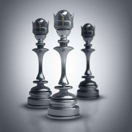 high resolution: Chess black Queen. High resolution 3d Stock Photo