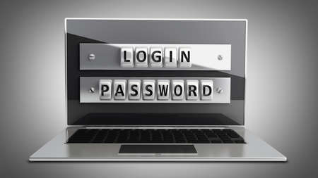 Laptop with steel security password. High resolution 3D  photo