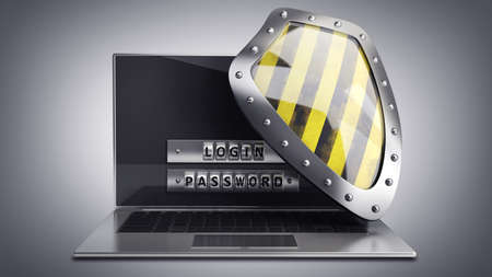 passcode: Laptop with steel security password and shield. High resolution 3D  Stock Photo