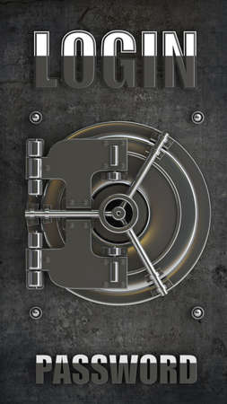 bank vault door background LOGIN High resolution 3d illustration  illustration