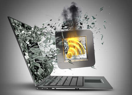 Tick symbol flaming icon exit by a monitor of laptop screen High resolution 3d  photo