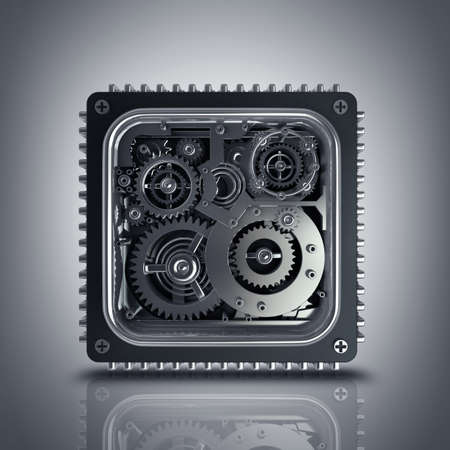 toothed: CPU concept. gears box High resolution 3d