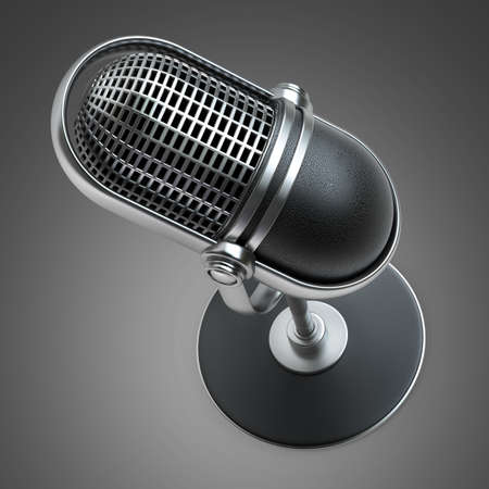 Retro microphone. High resolution 3D image  photo
