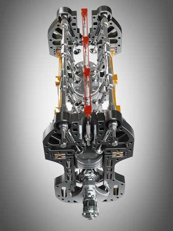 Car engine. Concept of modern car engine. High resolution 3d render  photo