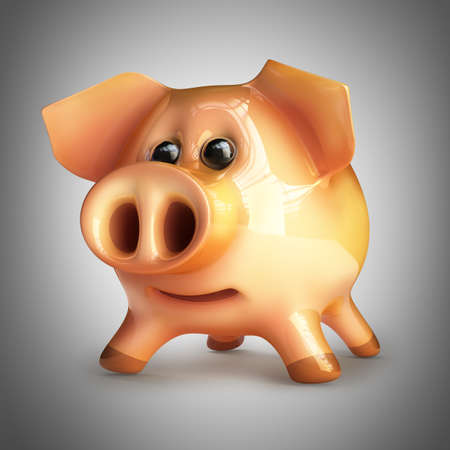 Pink piggy bank. High resolution 3d render