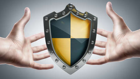 Shield depicting protection in hands  High resolution 3D  photo
