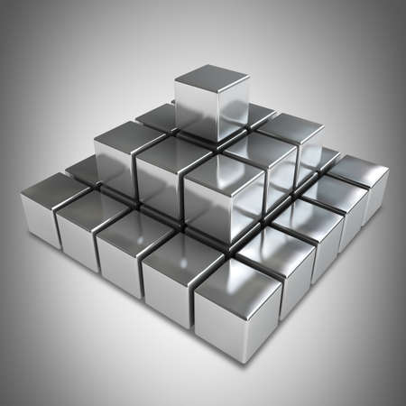 Pyramid with metal cubes  High resolution 3d