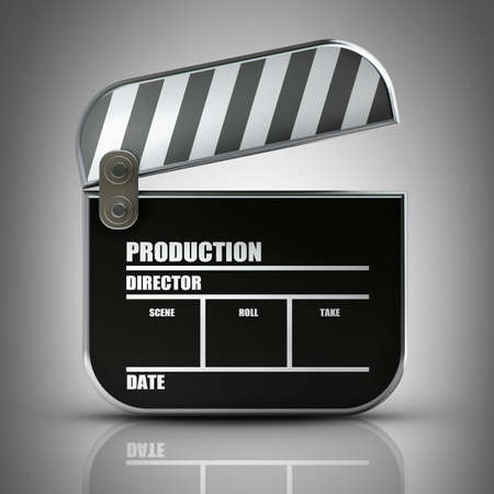 Clapper board. High resolution 3d render  photo