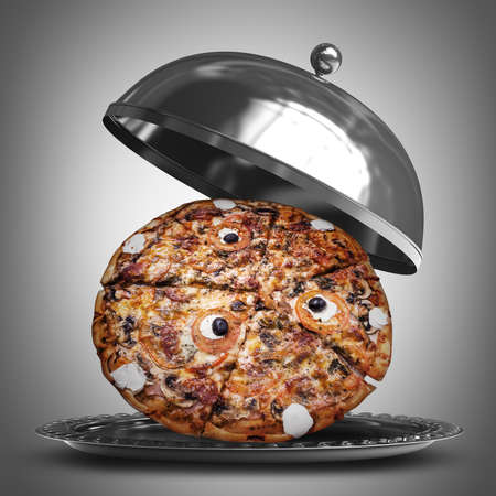 3d pizza: open metal silver platter or cloche with pizza  3d render