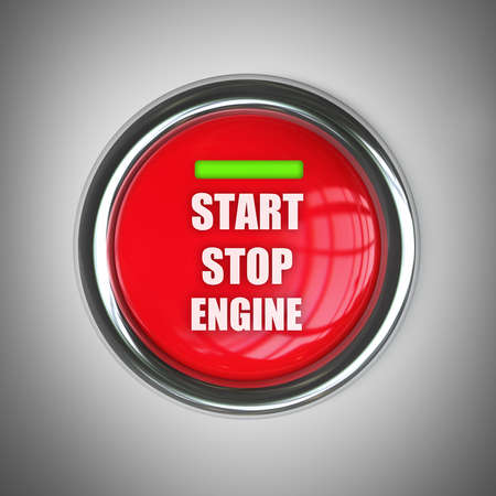 red engine start button. High resolution 3d render image  photo