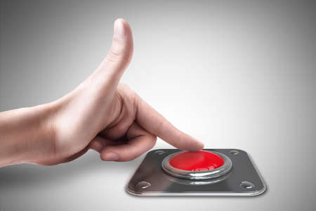press button: hand press on big Red button