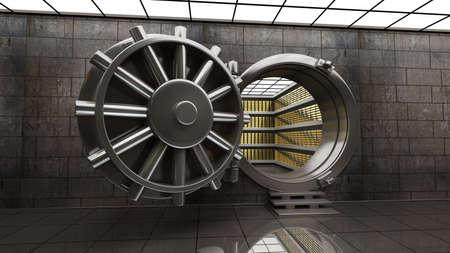 Grote kluisdeur met Gouden baren. 3D-afbeelding met hoge resolutie Stockfoto