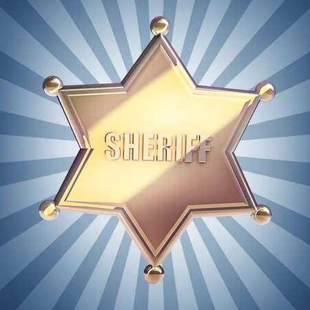 law enforcement: Golden Sheriff Star High resolution 3D render  Stock Photo
