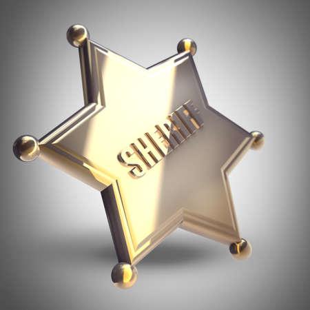 Golden Sheriff Star High resolution 3D render  photo