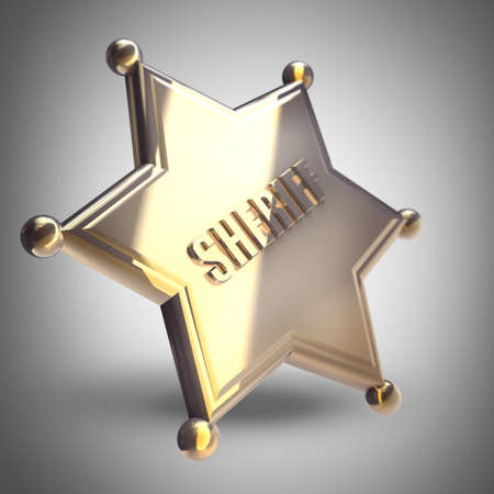 deputy: Golden Sheriff Star High resolution 3D render  Stock Photo