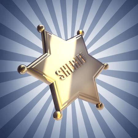 high resolution: Golden Sheriff Star High resolution 3D render  Stock Photo