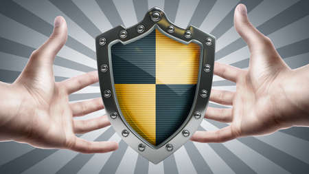 Shield depicting protection in hands  High resolution 3D