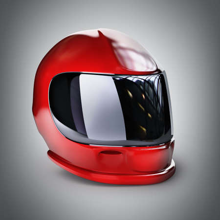 casco rojo: Red casco moto. 3d de alta resolución Foto de archivo