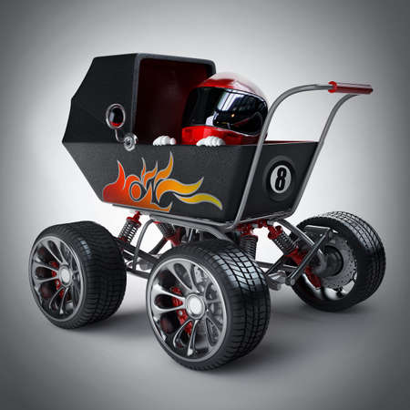 Baby super Carriage with big car wheel and the small racer in a helmet. High resolution 3d render  photo