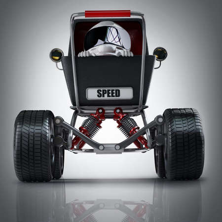 Baby super Carriage with big car wheel and the small racer in a helmet. High resolution 3d render