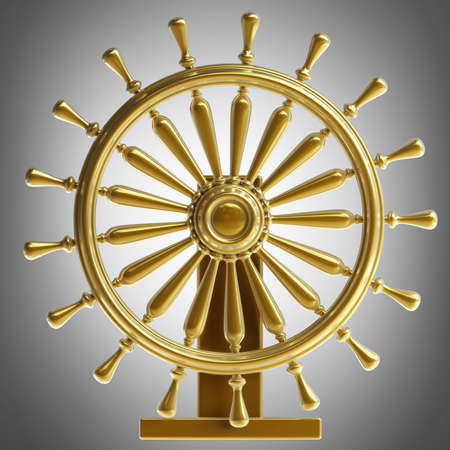 high sea: Golden sea steering-wheel High resolution 3d render Stock Photo